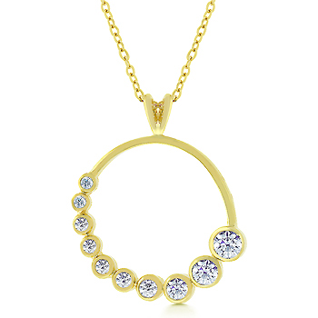 Golden CZ Circlet Pendant From DT Jewelers
