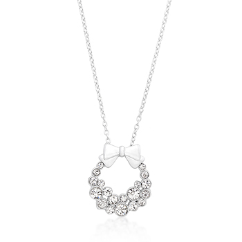 Fashion Holiday Wreath Clear Crystal Pendant
