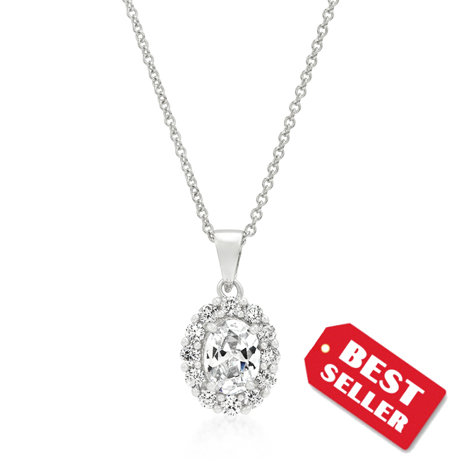 Antique Clear Stone 1 CT Oval CZ Estate Pendant