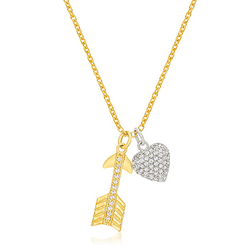 Pave Heart and Arrow Pendant .43 CT