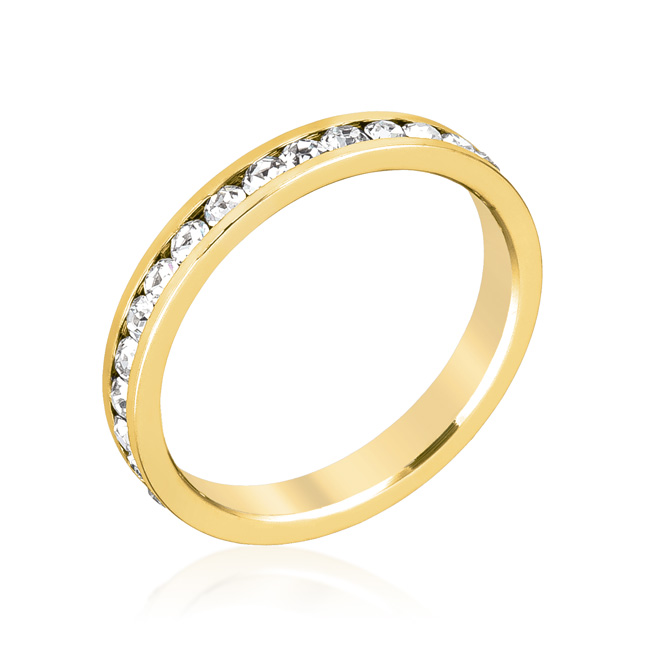 Notre Dame Eternity Clear CZ Gold Channel Wedding Ring
