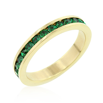 Classic Eternity Green CZ Ring