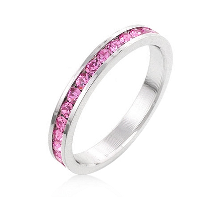Eternity Stylish Stackables Pink Silver Wedding Ring