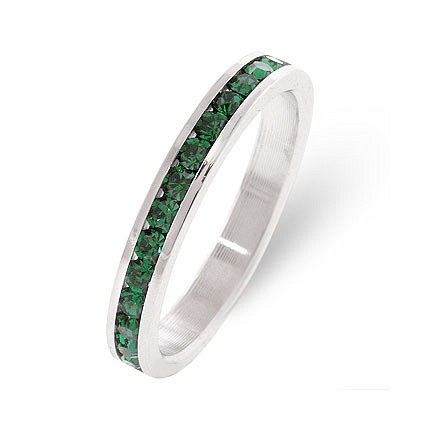 Eternity Stylish Stackables Emerald Silver Ring