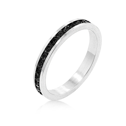 Eternity Stylish Stackables with Jet Black CZ Ring
