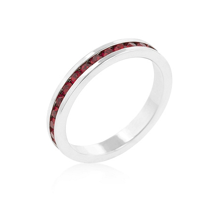Eternity Stylish Stackables with Garnet CZ Ring