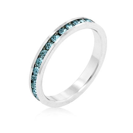 Eternity Stylish Stackables Aquamarine Silver Ring
