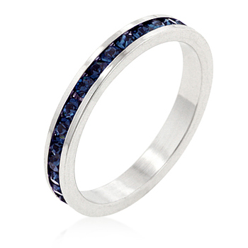 Eternity Stylish Stackables with Montana Blue CZ Ring
