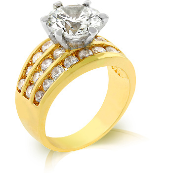 Cocktail Classic Gold Engagement Ring 7.5 CT CZ