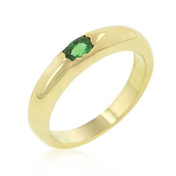 Solitaire Oval Emerald CZ Plain Wedding Band Ring