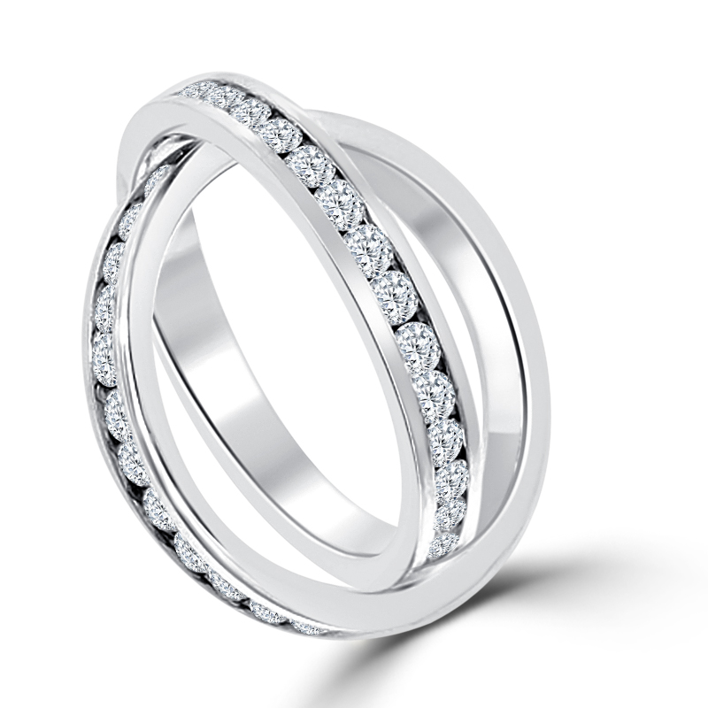 double band rolling eternity wedding band ring - Double Band Wedding Ring