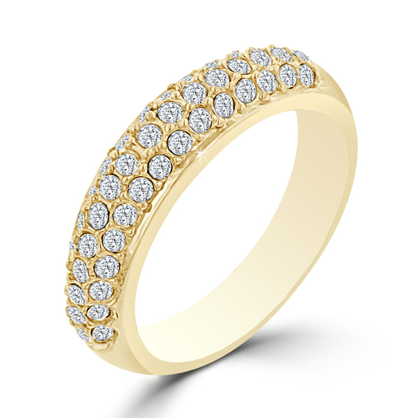 Contemporary 4 CARAT Crystal Pave Gold-Plated Wedding Ring