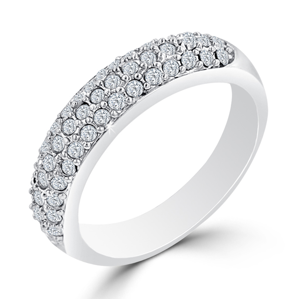 Contemporary 4 CARAT Pave Crystal Silver Wedding Band