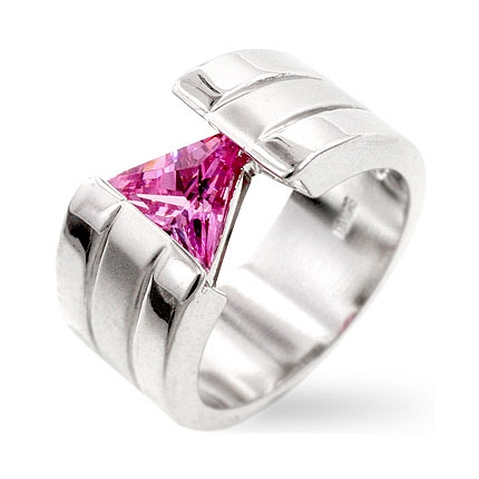 Contemporary Futuristic Pink CZ Ring