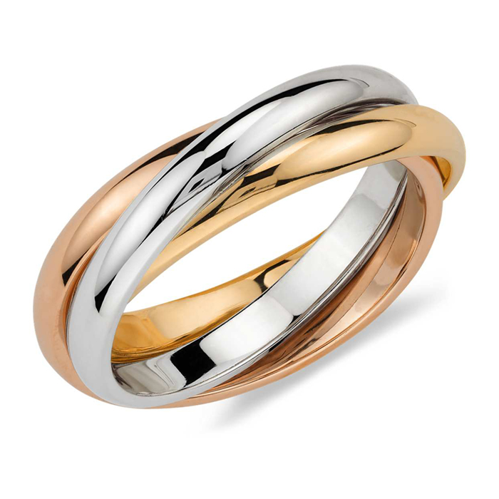 Classic Trinity Tri-Color Rolling Ring Cartier Inspired