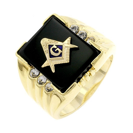 Classic Onyx Masonic Mens Ring