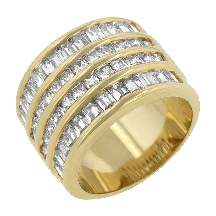 4 Row Gold Cubic Zirconia Wedding Ring