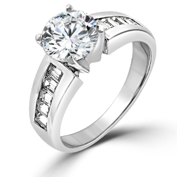 Antoinette Engagement Ring with Baguette Side Stones