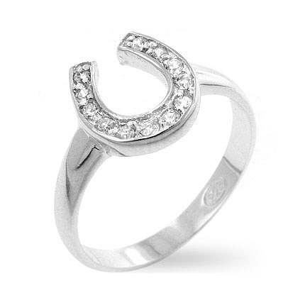 Fun Horseshoe CZ Silver Ring