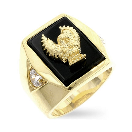 Contemporary Golden Eagle Mens Ring