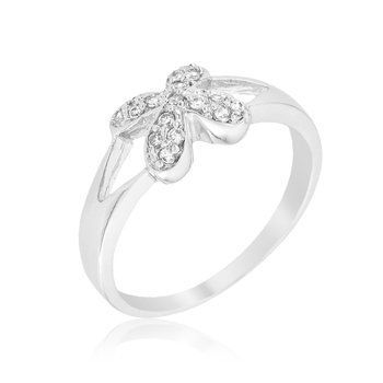 Fashion Simple Flower CZ Silver Ring 1.1 CT