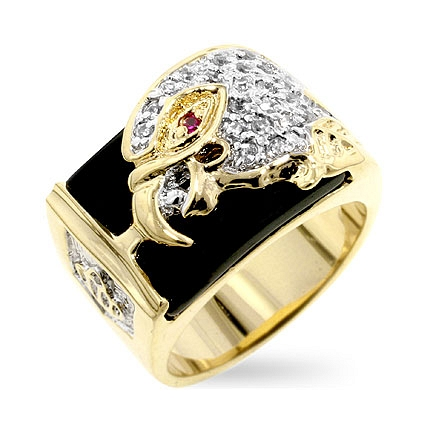 Contemporary CZ Eagle Mens Ring