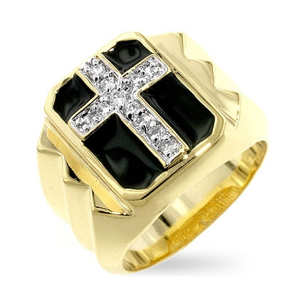 Classic Faceted Cross CZ Ring