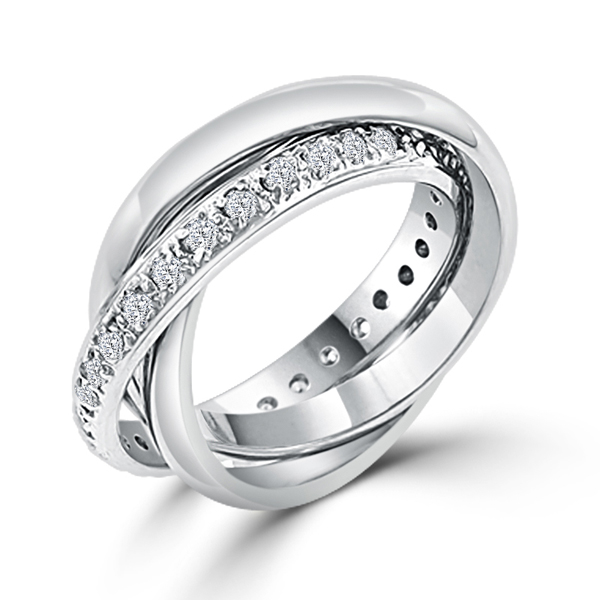 Eternity Trinity Cartier Inspired Roll Wedding Bands