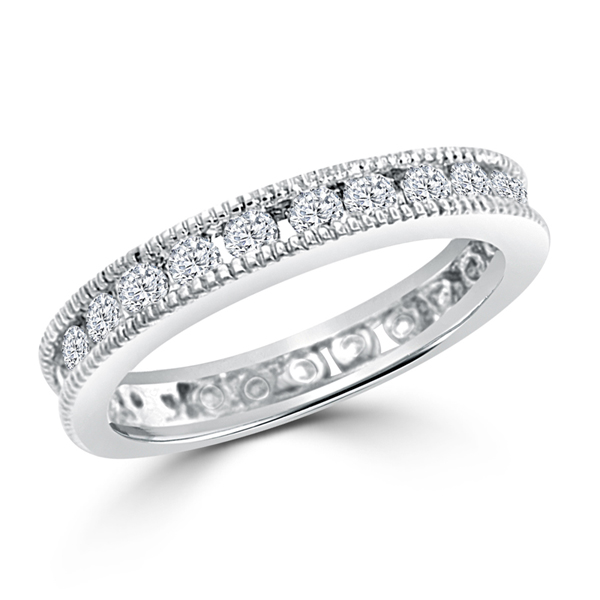 Vintage Classic Millgrain Eternity Wedding Ring 1CT Cubic Zirconia