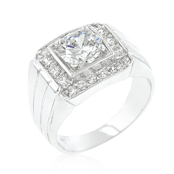 Contemporary Pave Mens CZ Ring