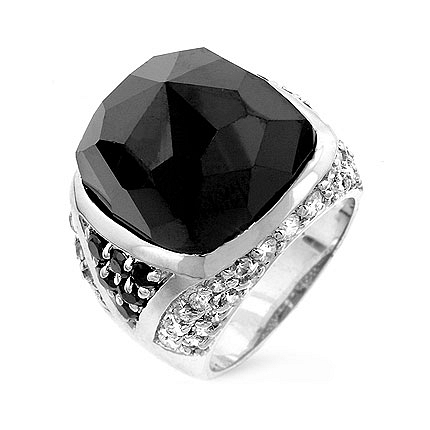 Trendy Faceted Onyx Cocktail Silver Ring