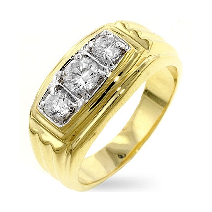 Gold Triplet CZ Ring - A Gift with Passion