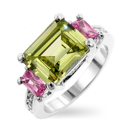 3-Stone Emerald Cut Triplet Silver Ring
