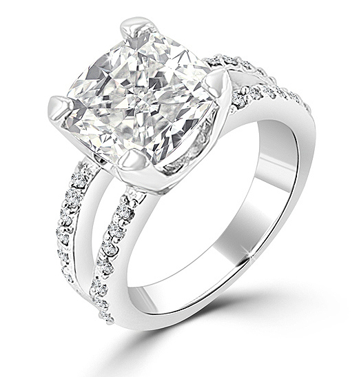 8 CARAT Cushion Cut CZ Split Shank Engagement Ring