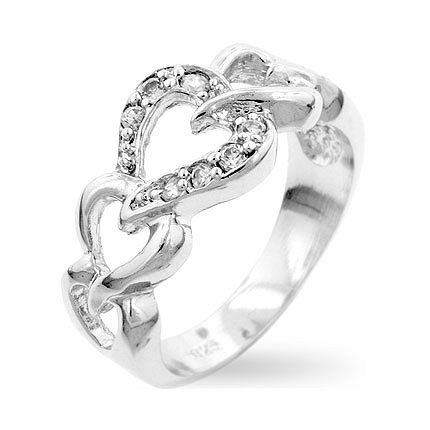 Linked Hearts Eternity Silver Ring