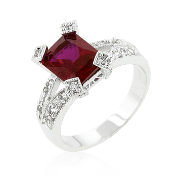 Engagement Ruby Cubic Zirconia Fashion Ring