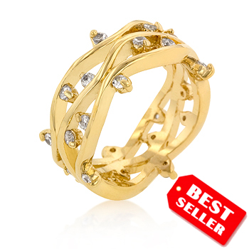 Italian Design Fashion Golden CZ Vines Wedding Ring