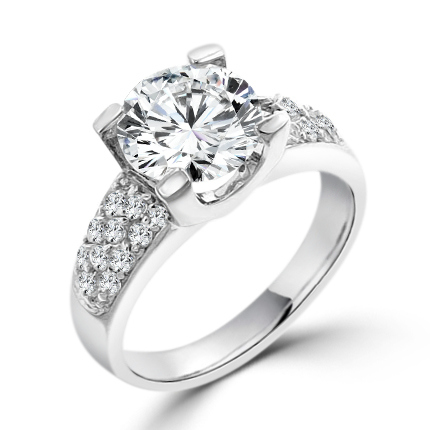 3 CARAT Classic Clear CZ Pave Engagement Ring