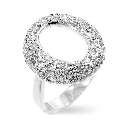 Pave Hooplet Silver Ring - Fashion Jewelry