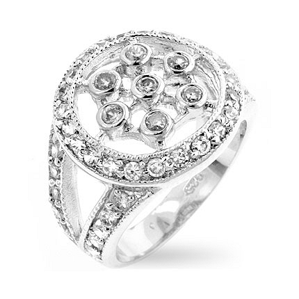 Classic CZ Web Silver Ring - Designer Fashion Jewelry