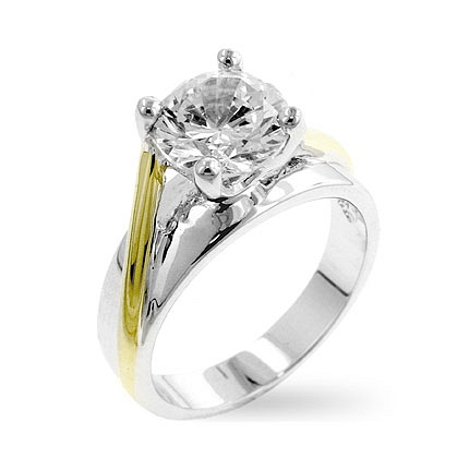 Tutone Solitaire Engagement Ring