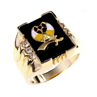 Classic 3 Stone Shriners Mens Ring