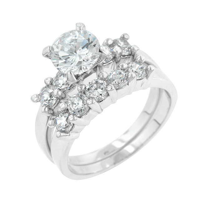 Modern 5 Stone Classic Wedding Set with Cubic Zirconia Stones