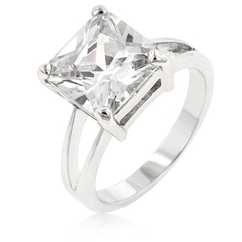 5 Carat CZ Solitaire Princess Gypsy Engagement Ring
