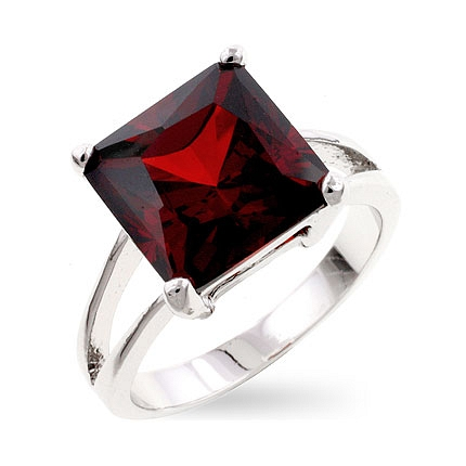 Solitaire Garnet Gypsy Ring