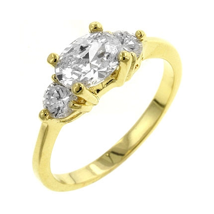 3-Stone Oval Serenade Triplet Ring in Gold Tone