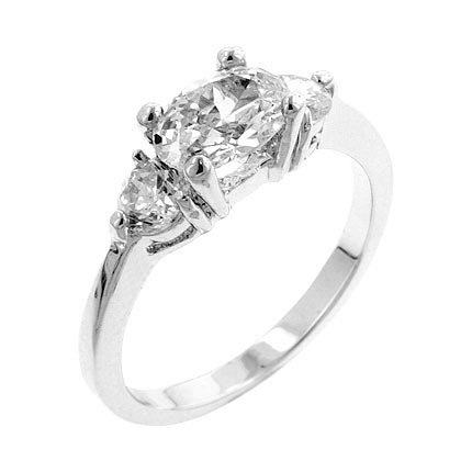 3-Stone Oval Serenade Triplet Ring in Silver Tone