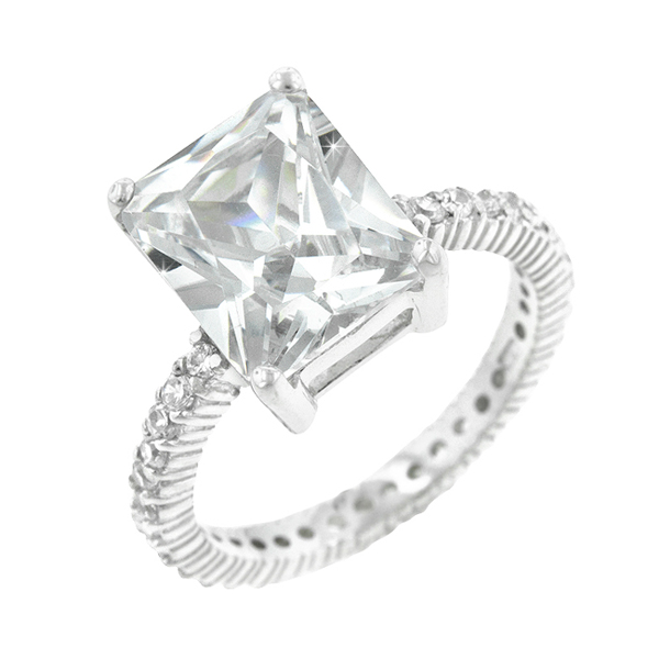 Sterling Silver .925 Radiant Cut Exclusive Engagement Ring