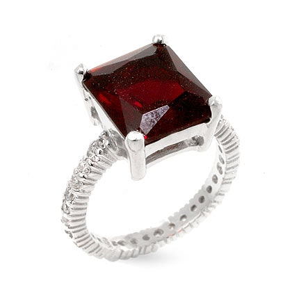 Princess Cut Ruby Engagement Silver Ring