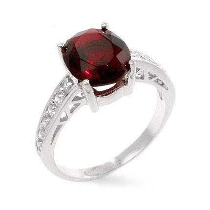 Atlantic Engagement Sterling Silver Ring w Oval Cut Red Ruby CZ